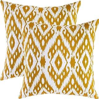 TreeWool - Pack de 2 - Ikat Ogee Diamante Acento Decorativo Fundas de cojín, 100% algodón (50 x 50 cm / 20 x 20 Pulgadas, Mostaza)