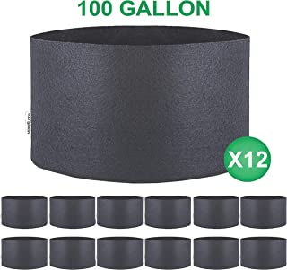 TopoGrow 12 Pack 100 Gallon Grow Bags Black Fabric Round Aeration Pots Container for Nursery Garden and Planting Grow (100 Gallon, Black)