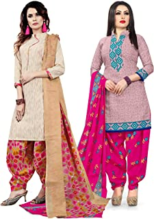 Rajnandini Women's Beige and Pink Cotton Printed Unstitched Salwar Suit Material (Combo Of 2) (Free Size)