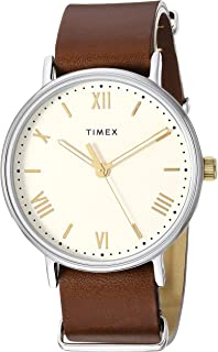 Timex Men's TW2R80400 Southview 41 Brown/Cream Leather Strap Watch