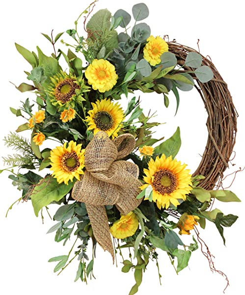 Ashland Silk Sunflower Front Door Spring Wreath 22 In Approved For Covered Outdoor Use Made By Hand