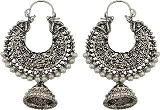 Jwellmart Bollywood Tribal Indian Oxidized Silver Jhumka Bali Faux Pearl Fashion Earrings for Women & Girls