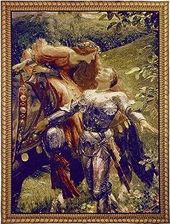 La Belle Dame sans Merci by Frank Dicksee | Woven Tapestry Wall Art Hanging | Victorian John Keats Poem Depiction | 100% Cotton USA Size 40x31
