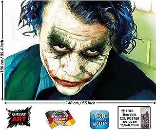 Poster – Joker Mural Decoration – Heath Ledger Batman The Dark Knight Clowns Movie Gotham Villain DC Comic DC Universe Wallposter Photoposter (55 Inch x 39.4 Inch / 140 x 100 cm)