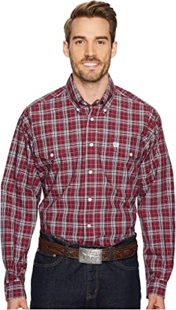 Long Sleeve Plain Weave Plaid Double Pocket