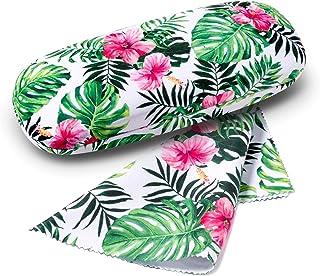 FEFI Set Etui à lunettes: Flower/Leaf - Hardcase - avec chiffon de nettoyage pour lunettes