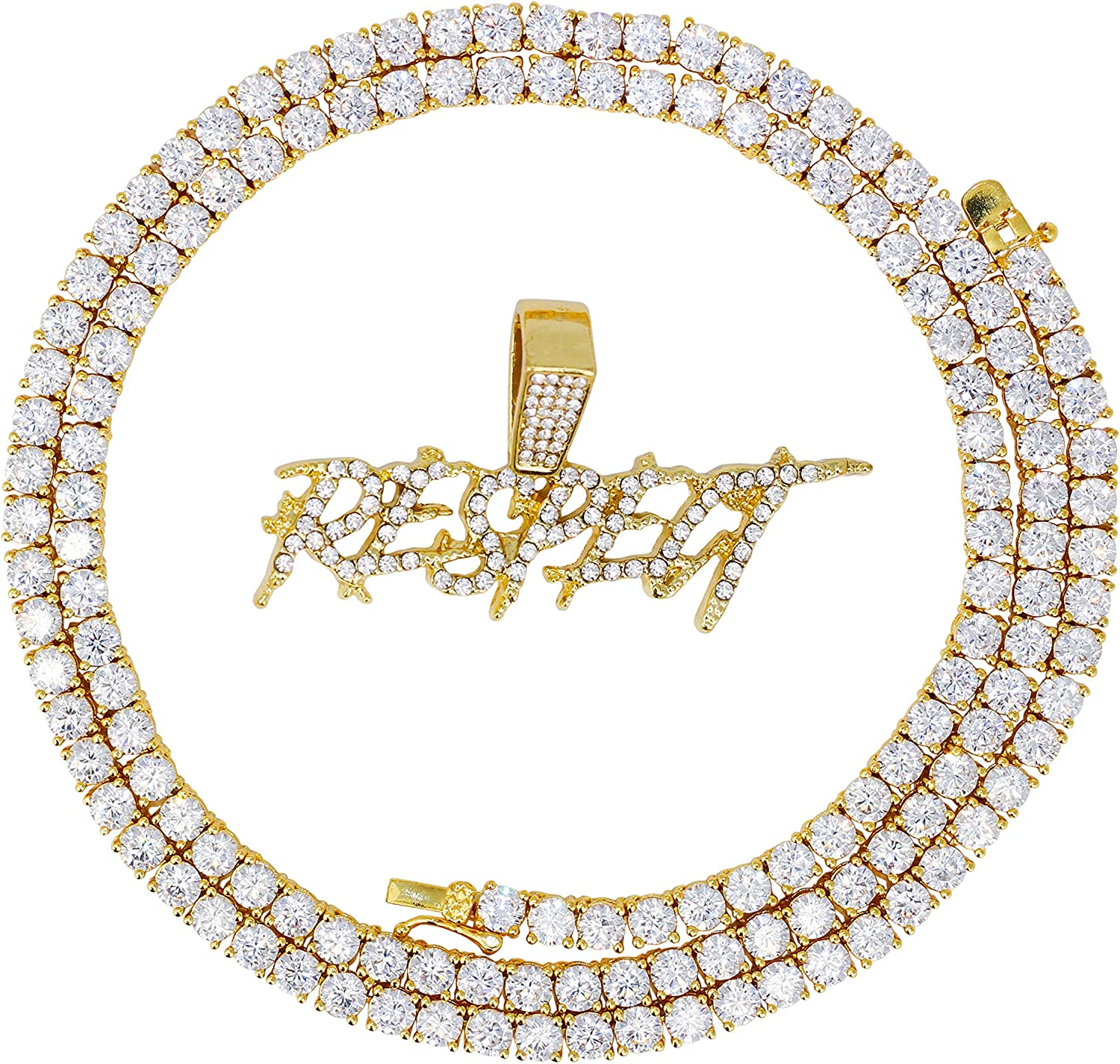 Techno Pave Iced Out Respect Pendant with Cz Crystals + Set of Two Chains - Includes 20