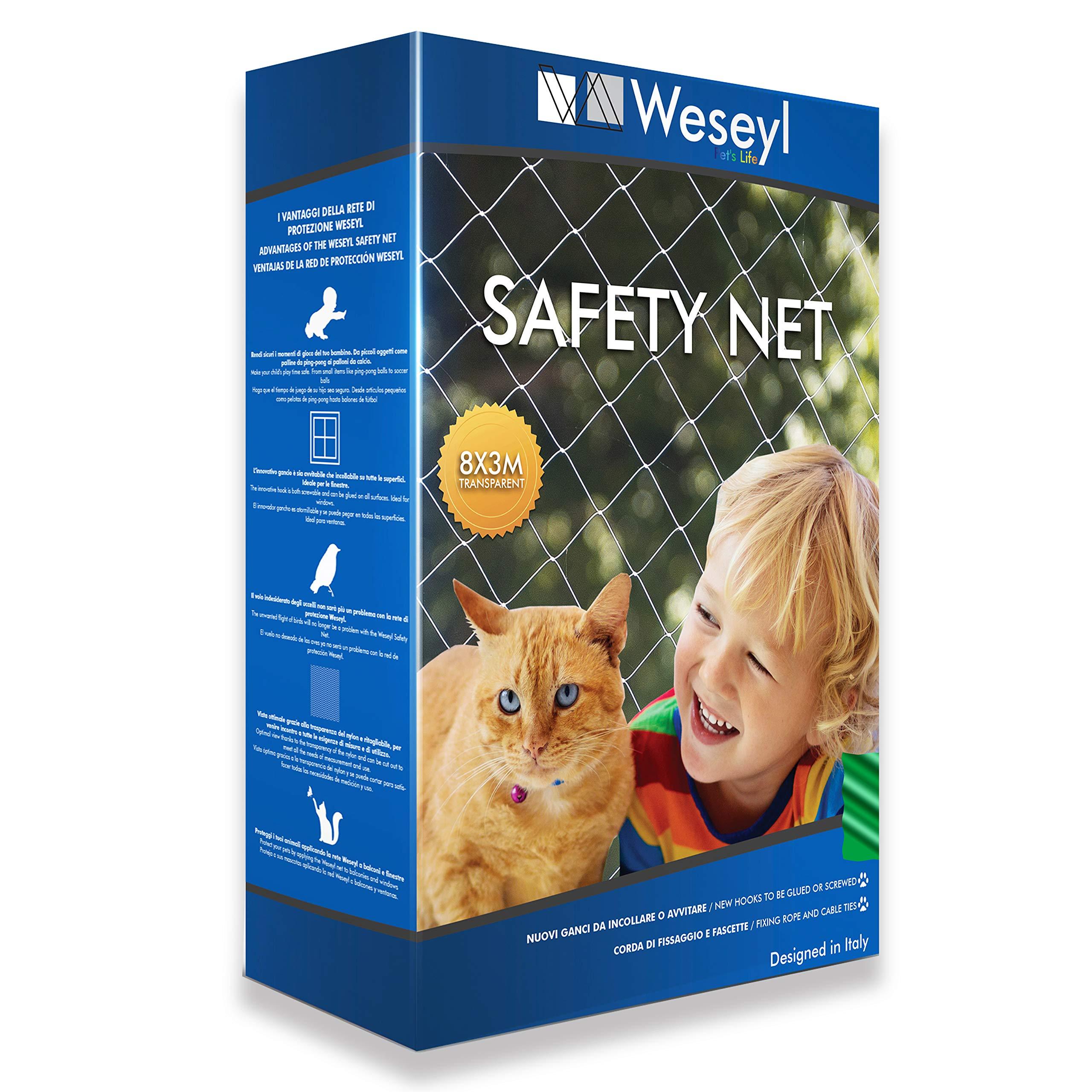 Weseyl Red de protección ultrarresistente Tamaño 3x8m para animales domésticos pequeños como gatos y perros, ideal para ventanas, balcones barandilla de nylon transparente equipada con kit de montaje: Amazon.es: Productos para mascotas