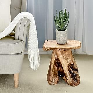 WELLAND Tree Stump Stool Live Edge, Natural Edge Side Table, Plant Stand, Nightstand, Mushroom Stool 14