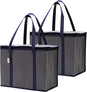2-Pack Reusable Insulated Grocery Shopping Bags or Meal Delivery Bags | Eco-Friendly Large Cooler Tote Bag Stands Upright with Zipper and Thermal Interior | For Hot and Cold Food Storage and Transport