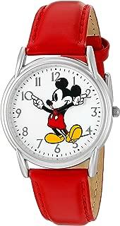 Disney Women's 'Mickey Mouse' Quartz Metal Watch, Color:Red (Model: W002753)