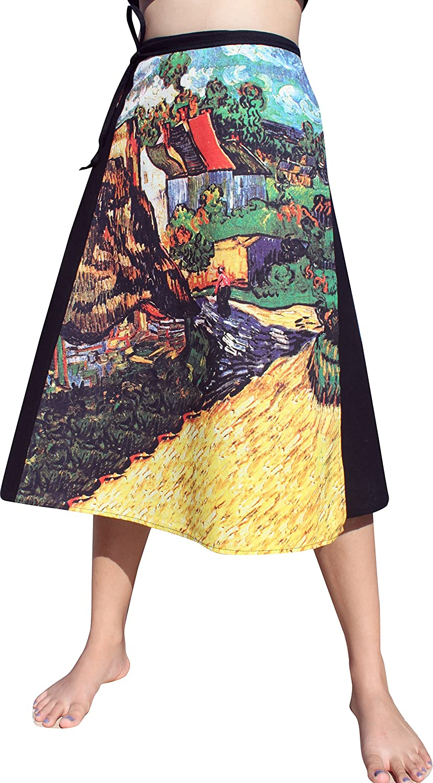RaanPahMuang Vincent Van Gogh Houses at Auvers 3 4 Length Wrap Skirt