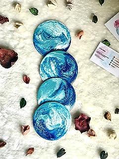 Posavasos con efecto mármol, azul, turquesa y blanco Conjunto de 4+ piezas, 10 cm de diámetro