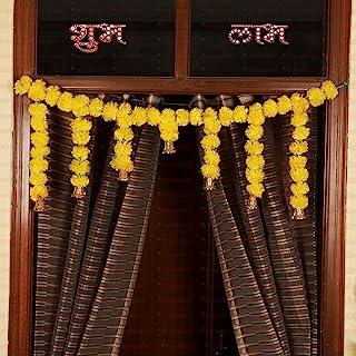 Tied Ribbons Door Hanging Artificial Marigold Fluffy Flowers Garlands Bandanwar Toran (105 cm X 36 cm) - Diwali Decoration...
