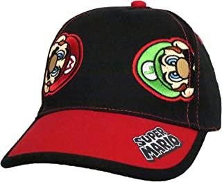 Nintendo Super Mario and Luigi Black Cotton Baseball Cap – Size Boys' 4-14 [6014]