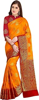Rajnandini Women's Silk Zari Weaving Work Rich Pallu Kanjivaram Saree With Blouse (JOPLNS2007_Free Size)
