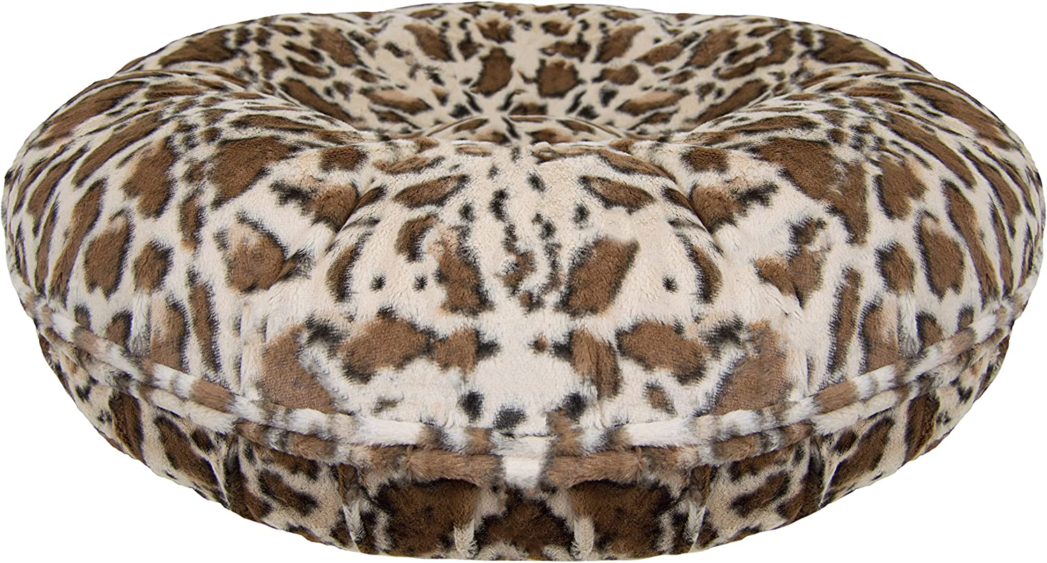 BESSIE AND BARNIE Signature Giraffe Extra Plush Faux Fur Bagel Pet Dog Bed (Multiple Sizes)