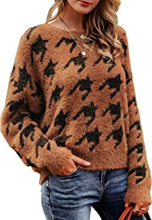 MsLure Women's Loose Knit Sweater Houndstooth Print Crewneck Mohair Sweater Pullover Jumper