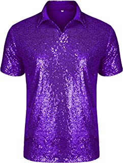 URRU Men's Relaxed Short Sleeve Turndown Sparkle Sequins Polo Shirts 70s Disco Nightclub Party T-Shirts Tops S-XXL