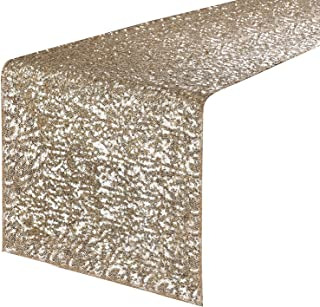 PONY DANCE Sequins Table Runner - Rectangle Glitzy Sparkling Decorative Table Runners, Event Dinner Birthday Party/Wedding/Christmas Decor, 12 by 108 inch, Light Gold