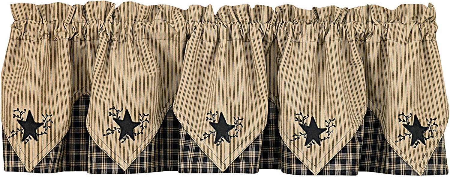 Park famous Designs Sturbridge Star Embroidered Black wi Valance Point Max 84% OFF