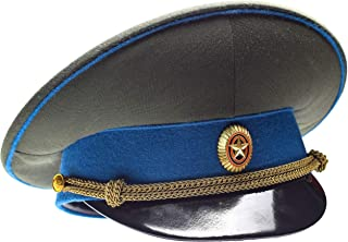 Genuine Russian Military Hat Army Officer Peaked Cap Blue with Badge and Chain Visor