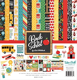 Echo Park Paper Company 1 Back to School Collection Kit Paper, 12-x-12, Blue/Black/Red/Green/Yellow