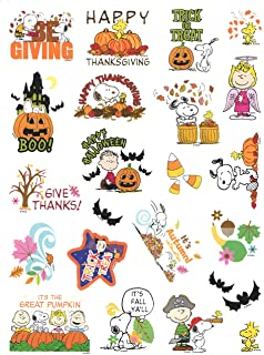 Current Peanuts Snoopy Fall, Halloween & Thanksgiving Stickers ~ It's Fall Ya'll, Angel Lucy, Be Giving! (22 Stickers; 1-1)