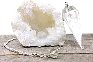 People Crystals Crystal Quartz Geode and Pendulum Kit from Morocco/Includes Gift Pouch and Chakra Guide/Bohemian Meditation Set