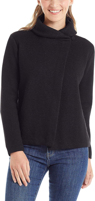 Invisible World Women's Alpaca Wool Wrap Sweater Button Up Cardigan Bianca