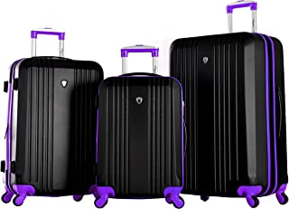 Olympia Apache 3pc Hardcase Spinner Set, Black/Purple, One Size