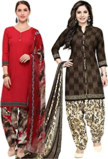 Rajnandini Women's Red and Brown Crepe Printed Unstitched Salwar Suit Material (Combo Of 2) (Free Size)