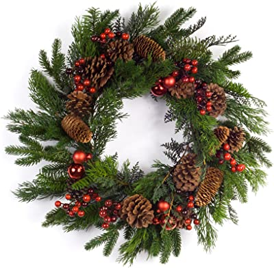 """Diva At Home Set of 2 Green and Red Pine/Berry Christmas Wreath 24"""""""