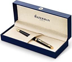 Waterman Hémisphère Ballpoint Pen, Gloss Black with 23k Gold Trim, Medium Point with Blue Ink Cartridge, Gift Box
