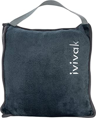 ivivak Travel Premium Blanket for Airplane- Pocket Built in Bag- Compact Perfect for Home, Office,car and Train Travel Foldable Blankets and Hand Luggage Belt Super Soft and Cozy