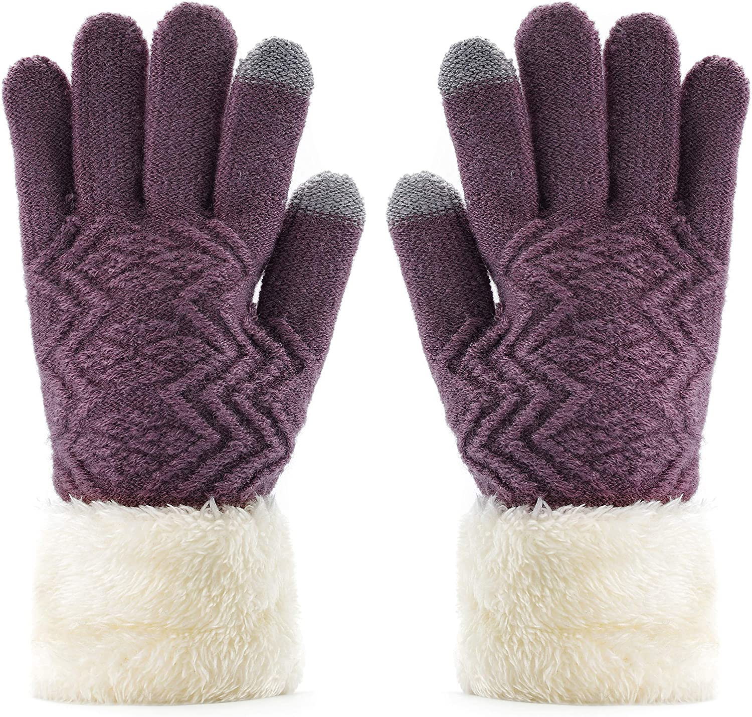 Urieo Winter Touchscreen Gloves Purple Warm Wool Knit Glove Thick Windproof Soft Fleece Lined Mittens Ski Outdoor Texting for Women and Girls