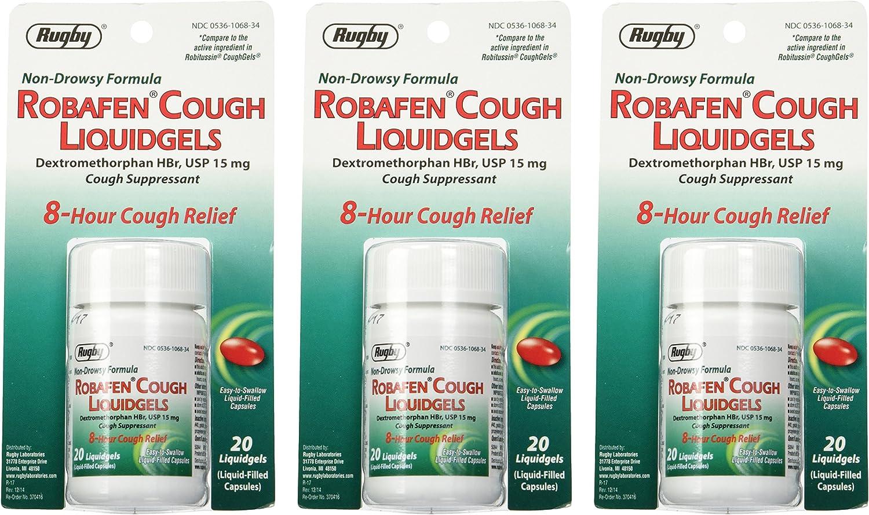 Robafen OFFer Cough Liquidgels Dextromethorphan HBr USP Liqu 15mg 20 Max 78% OFF