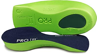Pro11 Wellbeing Orthopedic Insoles, with Heel pad, Against Plantar Fasciitis/metatarsalgia, 3/4-length, Very Thin.