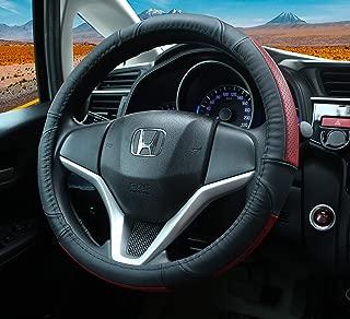 Spurtar Steering Wheel Cover Universal 15 inch Anti-Slip Genuine Leather Car Wheel Protector (Black/Red)