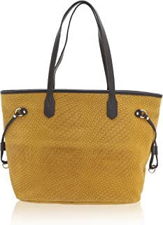 Chicca Borse - Shoulder Bag Borsa a Spalla da Donna Realizzata in Vera Pelle Made in Italy - 46 x 30 x 17 Cm