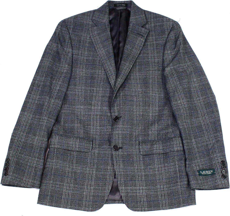 Lauren by Ralph Lauren Mens Suit Seperates Short Plaid Gray 40