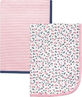 Hudson Baby Unisex Baby Cotton Blankets, Tiny Floral 2-Pack, One Size