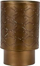 Foreside Home & Garden Brass Antique Large Pierced Metal Pillar Candle Holder