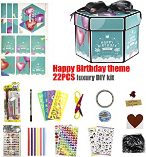 Explosion Box Accessories,Happy Birthday Theme DIY Photo Album Decoration Kits Including Glitter Stickers and More