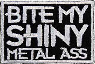 Bite My Shiny Metal Ass Patch Iron On Applique - Black, Light Gray - 3