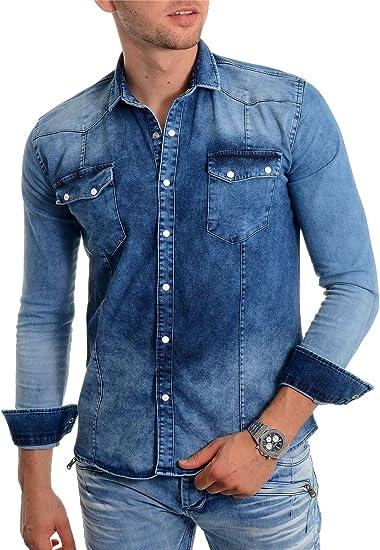 Camisa de Mezclilla Azul para Hombre, Tela Gruesa Manga Larga Botones de Metal