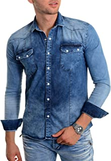 Mens Blue Denim Shirt Thick Fabric Stone wash Long Sleeve Slim fit Stud Buttons