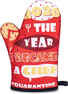 Magic Mitt Red Oven Mitt With Quilted Cotton Lining - Oven Glove (7 x 11 Inches) - Heat-Resistant BBQ Glove - '2020 The Ye...