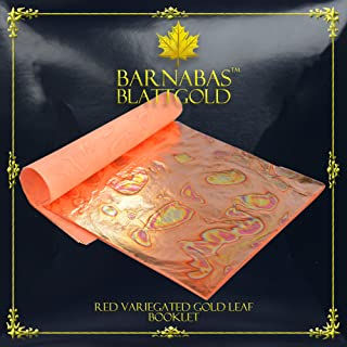 Variegated Gold Leaf Sheets - by Barnabas Blattgold - Color - Red - 25 Sheets - 5.5 inches Booklet