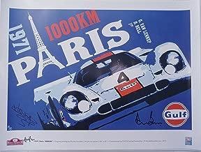 Gulf Porsche 917 - Paris 1000 Km 1971 - Art Poster Autographed By Both Derek Bell & Gijs Van Lennep + the Artist Nicolas Hunziker